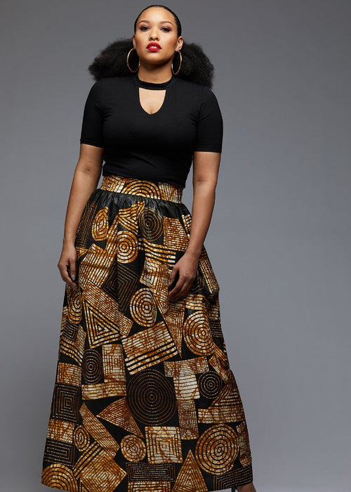 Uma Chic African Print Maxi Skirt (Black Brown Geometric)
