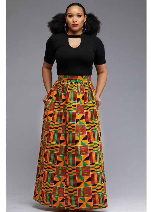 Uma Chic African Print Maxi Skirt (Yellow Green Kente)