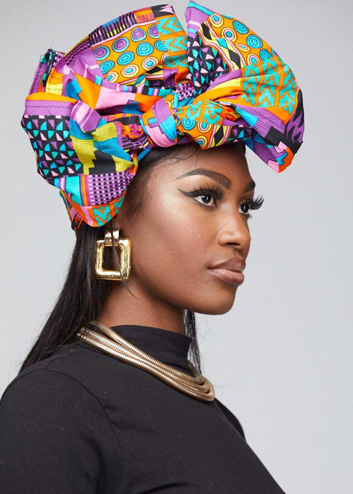 African Print Headwrap Pink and Purple