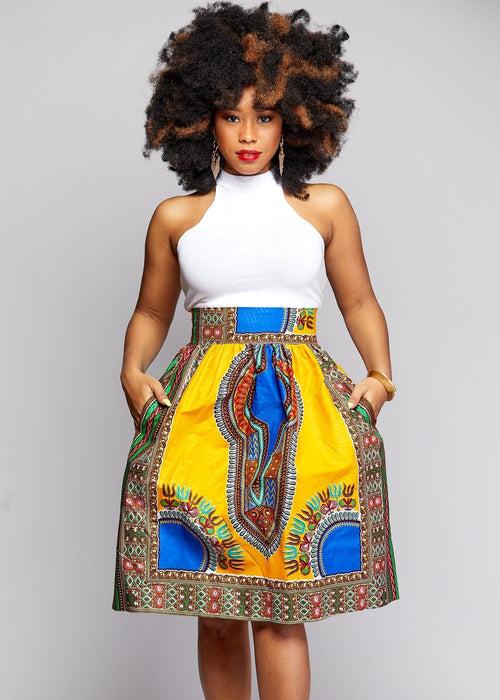 Naya African Print Dashiki Midi Skirt with Sash (Yellow/Blue)