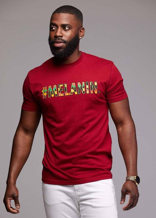 Akono Men's Melanin African Print T-Shirt (Maroon/Yellow/Black Kente)
