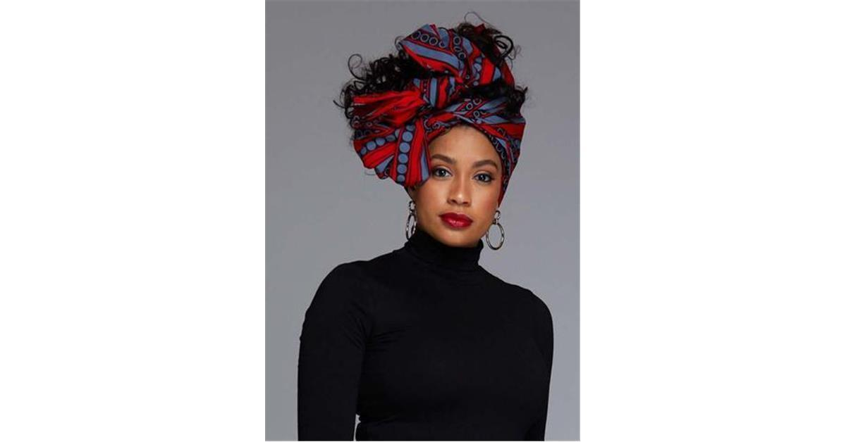 African Print Head Wrap/Scarf (Red/Grey)