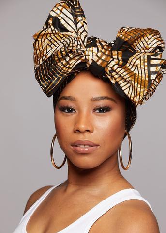 African Print Head Wrap/Scarf (Black Brown Geometric)