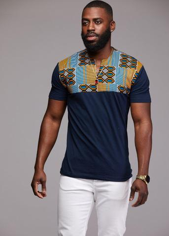 Dayo Men's African Print T-Shirt (Blue/Tan/Navy)