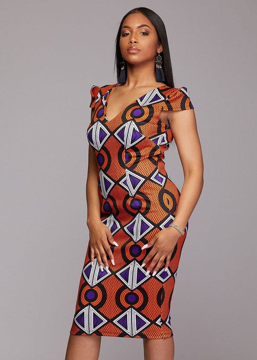 Onya African Print Pencil Dress with Stretch (Orange Purple)- Clearance