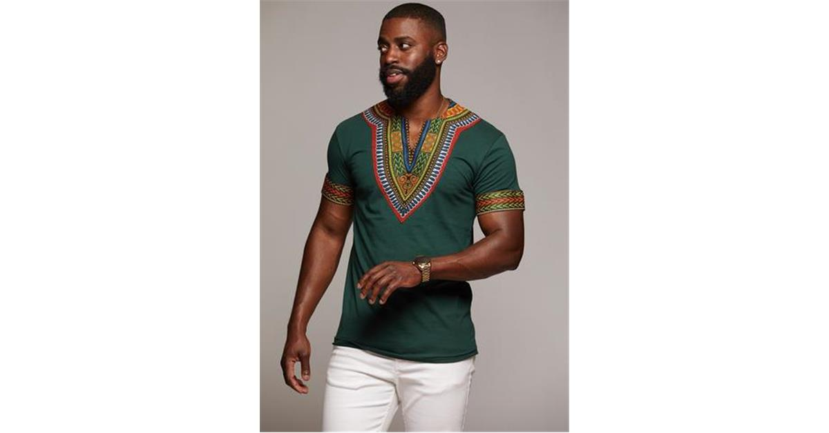 Men's African Print Dashiki T-Shirt (Forrest Green/Maroon)