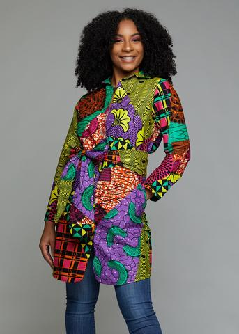 Zaki African Print Button-Up Dress (Colorful Multipattern)