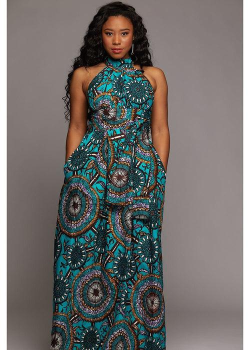 Ronke African Print Halter Maxi Dress (Teal Flowers)