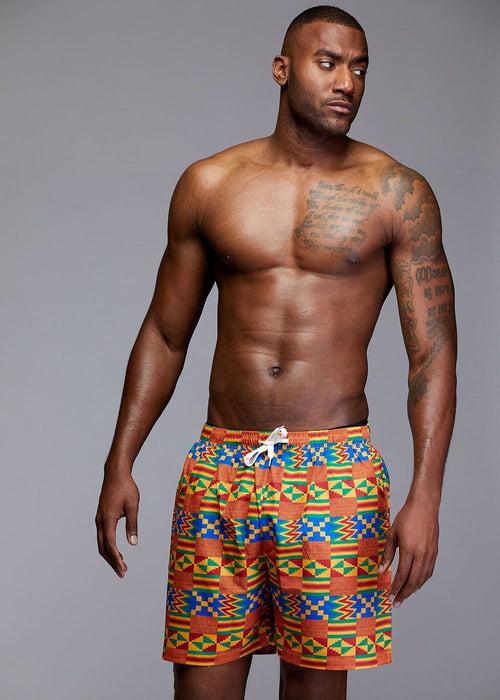 Dele Men's African Print Swim Trunk (Orange/Blue Kente)