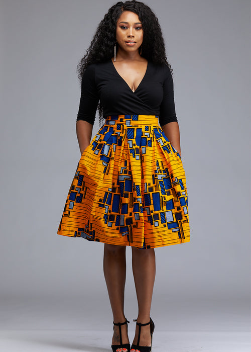 Amsa African Print Midi Skirt with Sash (Yellow/Blue)