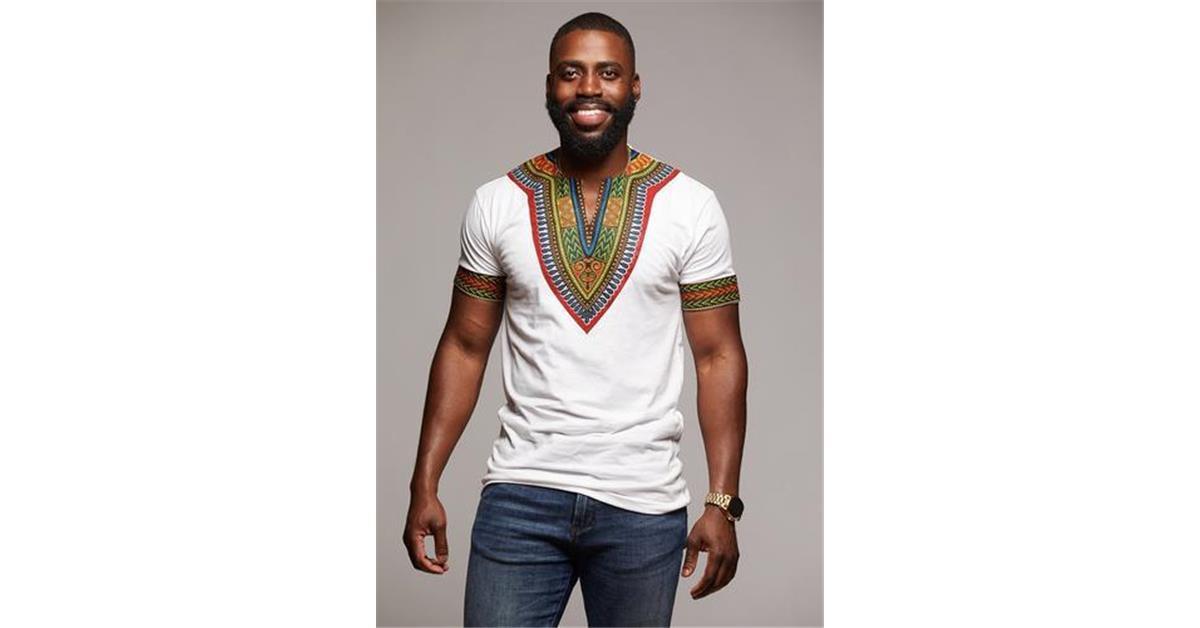 Men's African Print Dashiki T-Shirt (White)