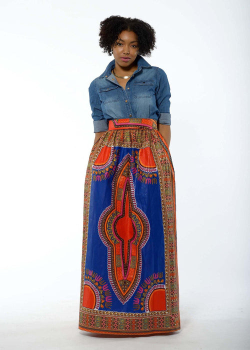 Dashiki African Print Maxi Skirt (Blue/Orange)