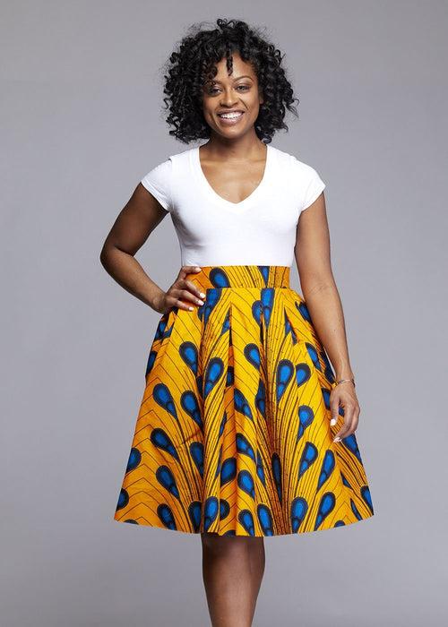 Amsa African Print Midi Skirt (Yellow Peacock Feather)