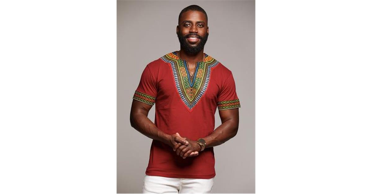 African Print Men's Dashiki T-Shirt (Maroon)