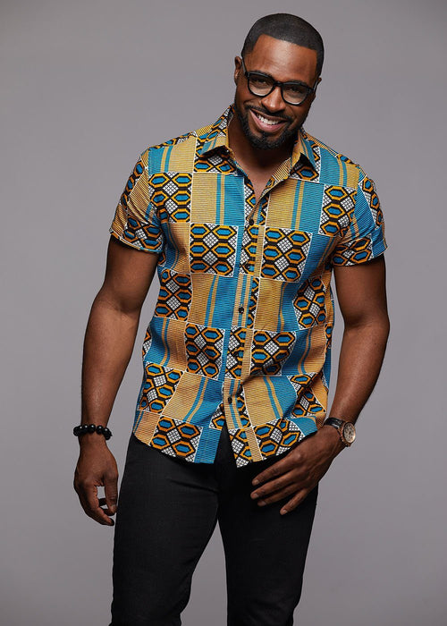 Keyon Button-Up African Print Shirt (Blue/Tan)- Clearance
