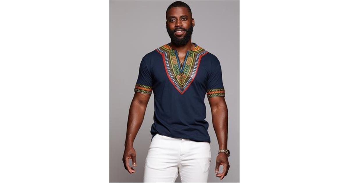 Men's African Print Dashiki T-shirt (Navy)