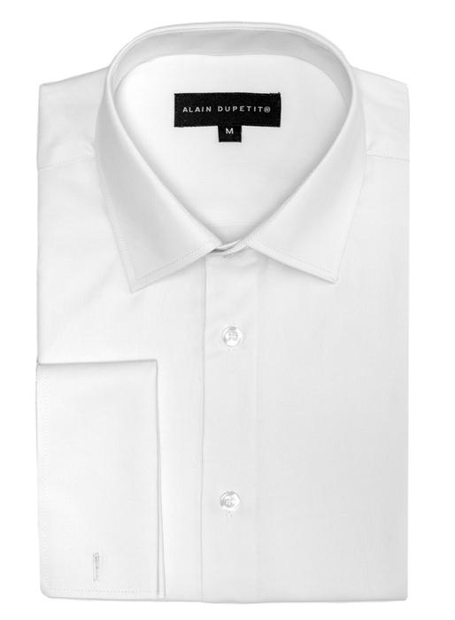 DRESS SHIRT WITH FRENCH CUFFS IN WHITE - all cotton