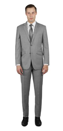 LIGHT GREY TWO BUTTON 100% WOOL SUIT