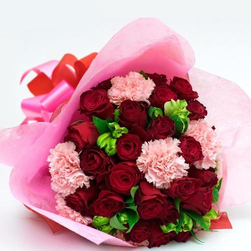 Red Roses and Pink Carnations Bouquet