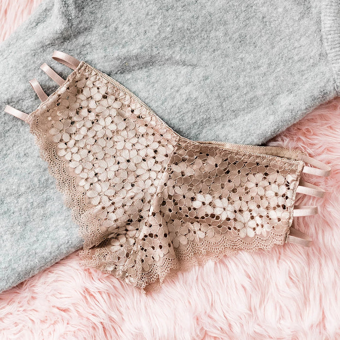 Strappy Floral Lace Hipster Panty - Beige