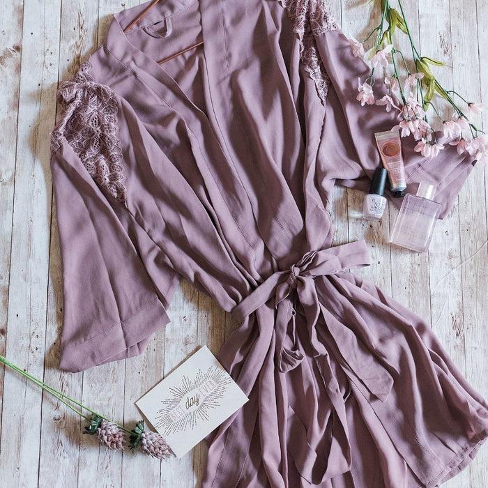 Lacy Panel Robe - Mauve