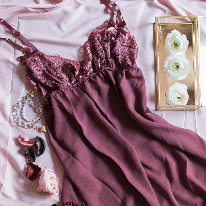 Lacy Top Babydoll - Rose