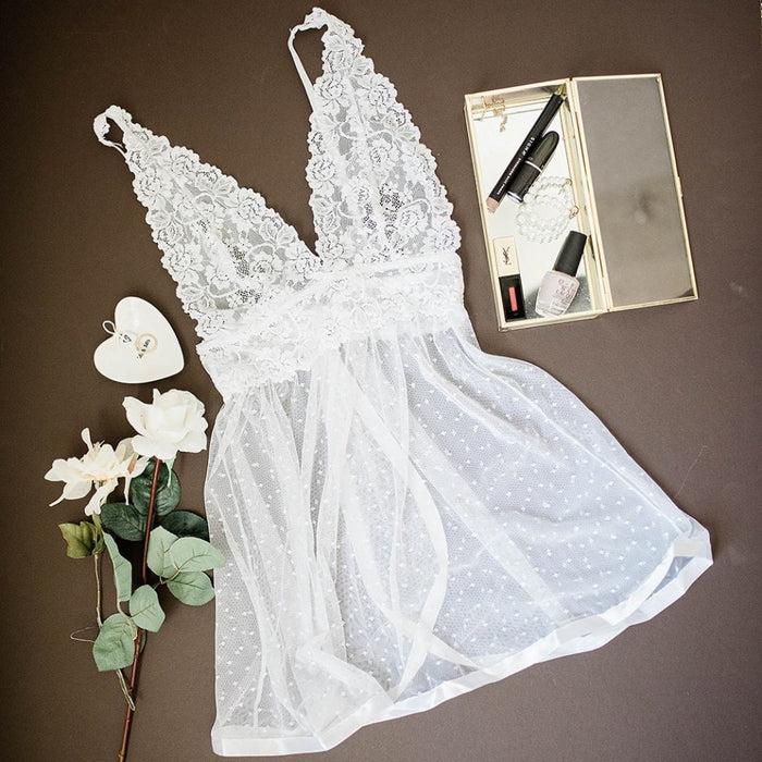 Lace & Mesh Polka Dot Babydoll - White