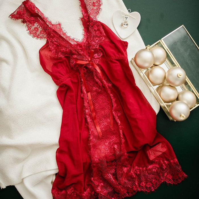 Slit Front Eyelash Lace Babydoll - Red