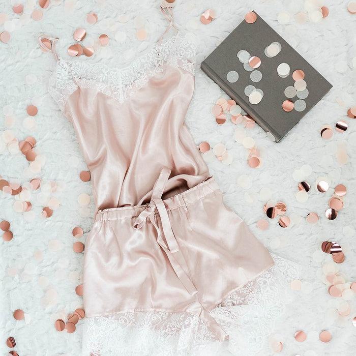 Satin Shorts & Cami Set - Blush - Plus Size