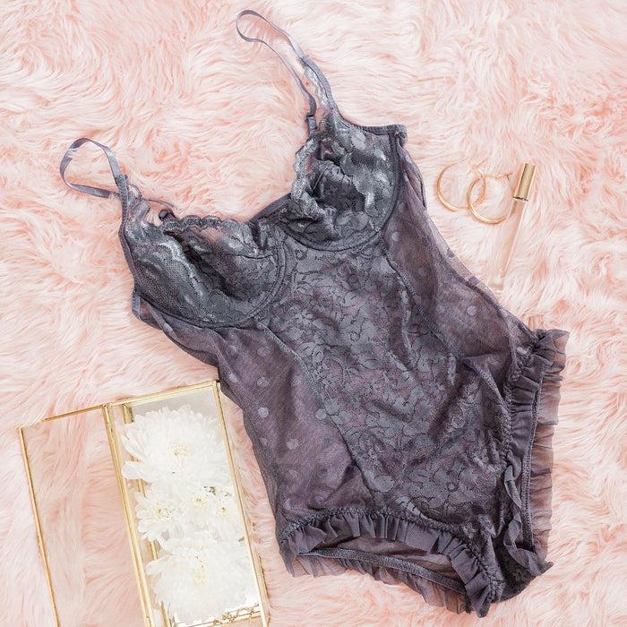 Lace & Mesh Polka Dot Teddy - Grey