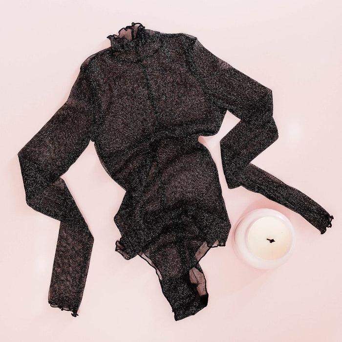 a9c0f772d3 Long Sleeve Metallic Mesh Teddy - Black - Plus Size