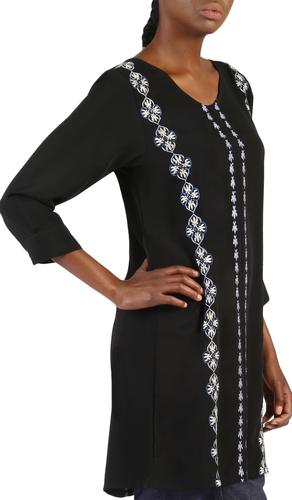 Nazar Embroidered Long Modest Tunic - Black