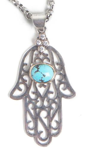 "Handcrafted Sterling Silver and Turquoise ""Evil Eye"" Khamsa Necklace (Small)"