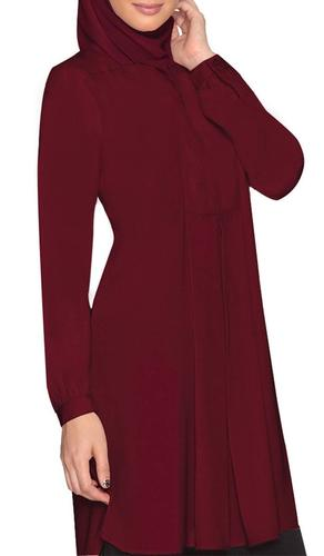 Leah Long Tunic Dress - Maroon