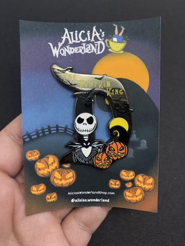 "Pumpkin King Enamel Pin - 2"" Hard Enamel - D Design"
