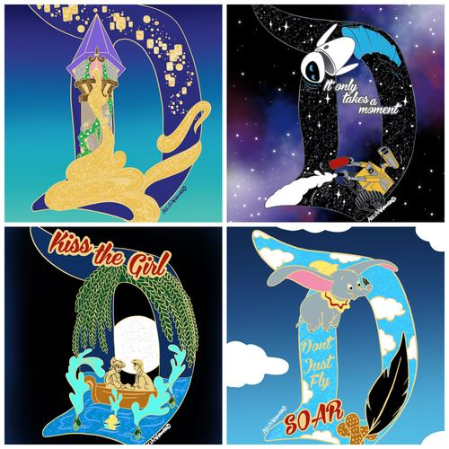 4 Character Enamel Pin Set PREORDER - D Design Collection -  Enamel Pin & Matching Sticker