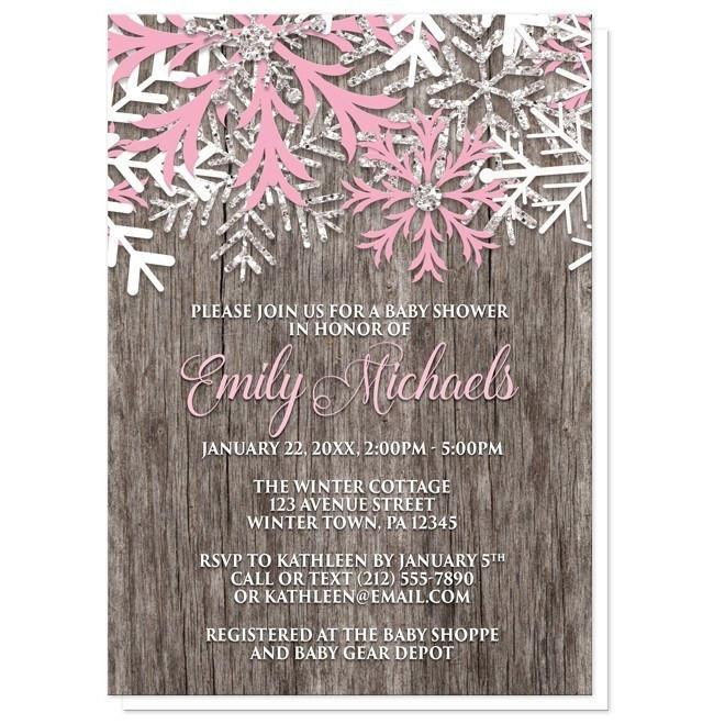 Baby Shower Invitations - Rustic Winter Wood Pink Snowflake