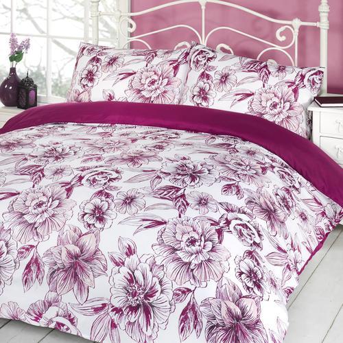 Duvet Quilt Cover & Pillow Case Bed Set - Chantal Aubergine - Double