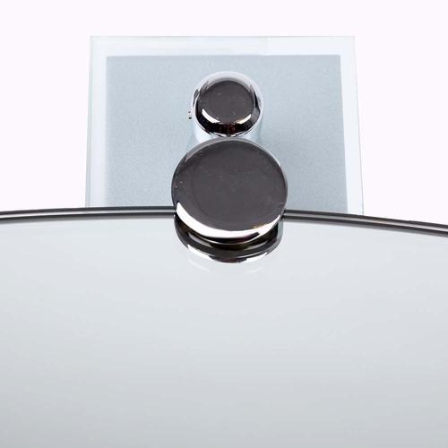 2x Modern Swivel Glass Bathroom Mirror Holders - Polished Chrome - 8cm
