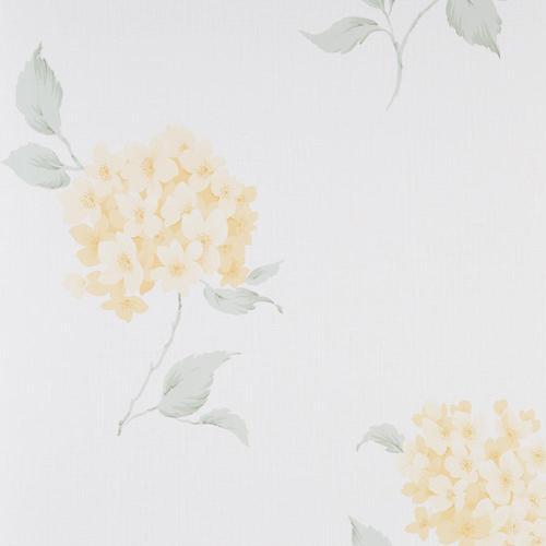 Fresco Wallpaper Roll - Flat Floral - Mia Yellow Green Cream - 50-612