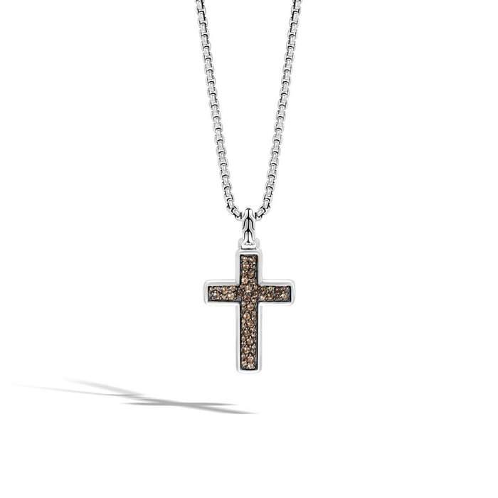 Chain Men's Smoky Quartz Cross Necklace  - NBS970294SQ