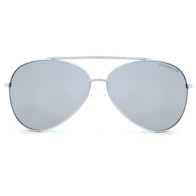 Amelia Sunnies - Silver + White Frame