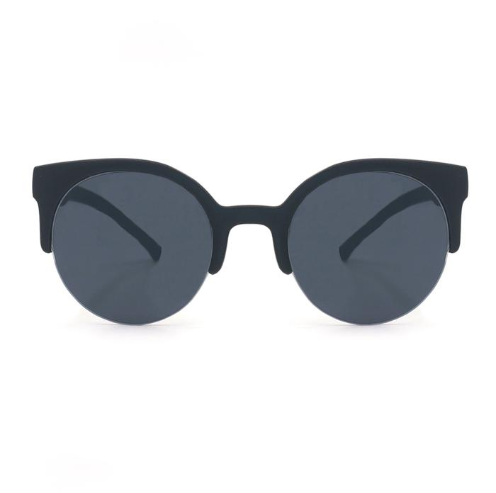 Retro round Sunnies - Black/Black