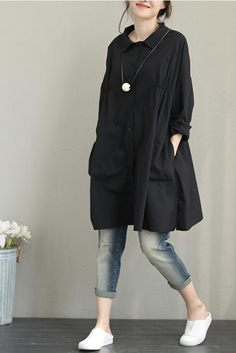 115d0f53e70d6b Casual Loose Black And White Cotton Shirt For Women Q1385