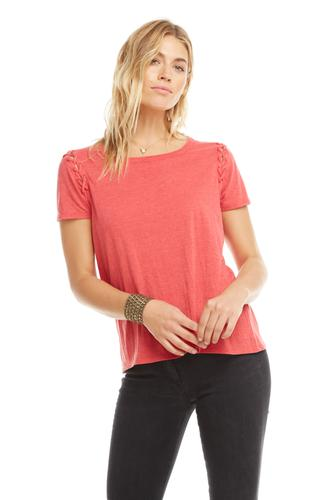 VINTAGE JERSEY S/S LACE-UP SLEEVE TEE
