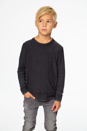 BOYS COZY KNIT L/S CREW NECK PULLOVER W/ STRAPPINGS