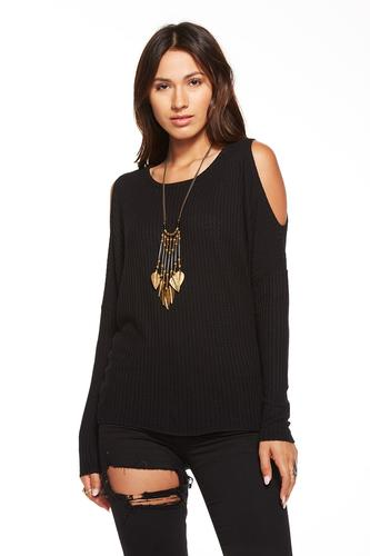 """WAFFLE THERMAL LONG SLEEVE COLD SHOULDER DOLMAN THERMAL """"T"""""""