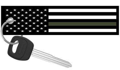USA Flag Thin Green Line- Motorcycle Keychain