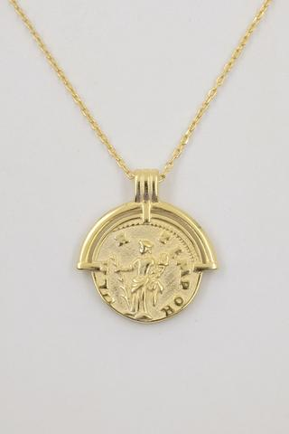 JUSTITIA 18K Gold Plated s925 Lady Justice Coin Necklace