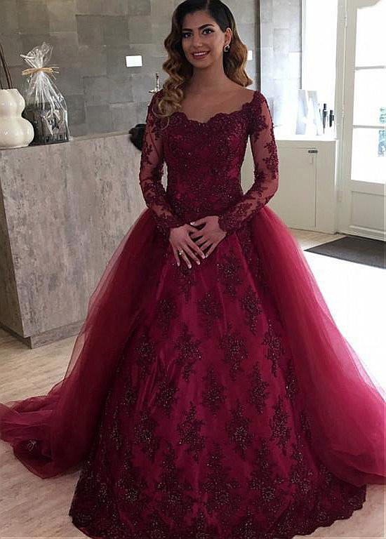 Wine Red Ball Gown Wedding Dress With Beaded Detachable Skirt